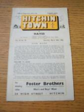 24/03/1962 Hitchin Town v Hayes  (Faint Fold, Slight Nick On Edge Of Front Cover