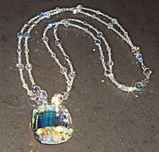 AB Clear Crystal Oval Pendant and Necklace