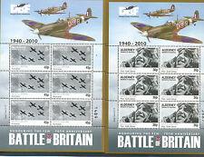 Alderney-Battle of Britain Scenes World War II set of 6 sheets mnh-Spitfires-