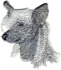 "1 7/8"" x 2 3/8"" Chinese Crested Dog Looking Left Portrait Breed Embroidery Patch"