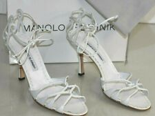 NEW Manolo Blahnik ESPINASA Strappy Sandals Leather White Heels Shoes 40