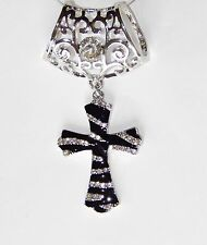 WOMEN'S SILVER FILIGREE SCARF RING/SLIDER W/ BLACK CROSS PENDANT & RHINESTONES