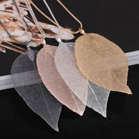 Charm Lady Special True Leaves Leaf Pendant Necklace Sweater Long Chain Jewelry