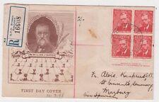 Stamps Australia 2&1/2d William Farrer imprint block 4 Haslem registered Fdc