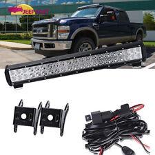 """20"""" Led Work Light Bar Combo +Wiring Kit Roof Bumper Fog Driving Ford Ranger"""