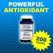 L GLUTATHIONE  500 MG  200 CAPS Anti Aging Powerful Antioxicant Made USA