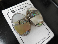 Sarda Abalone Shell Mother Of Pearl Sterling Silver 925 Statement Earrings
