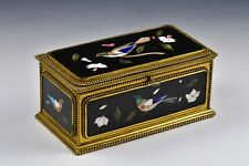 Italian Pietra Dura Casket Dresser Box with Key Birds and Flowers