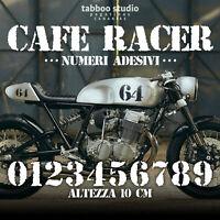 Numeri adesivi serbatoio Cafe Racer stickers numbers Scrambler tracker moto
