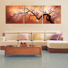 Plum Blossom Oil Painting Japanese Inspired Wall Art Hand Painted Canvas Large