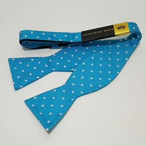 "Countess Mara Bow Tie Woven Silk 20"" Adjustable Polka Dots Blue Bowtie"