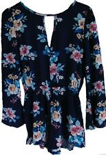 Mimi Chica Floral Romper Bell Sleeve Blue Size Small S NEW!