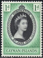 (Ref-12609) Cayman Islands 1953 Coronation 1d Black & Emerald SG.162 Mint Hinged