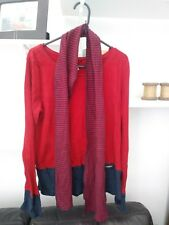 Ladies BNWOT Very Trendy Next Navy Blue & Red Top with Matching Scarf Size 10
