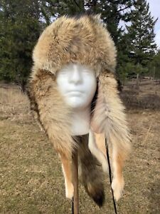 NEW Coyote Mongolian Style Fur Hat  ;mountainman,USA