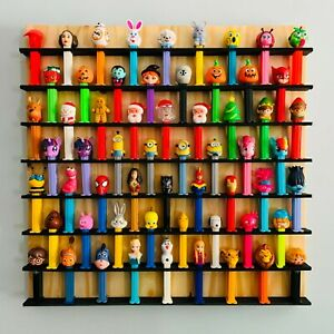 """Wall PEZ Dispenser Display Holds 60 - 22"""" x 22"""" Pine Wood, Paint & Stain Options"""