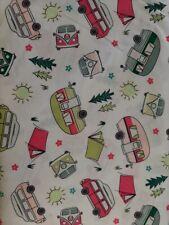 Caravans, Motorhomes Campers & Tents - Cream - Cotton Fabric - Metre/Fat Quarter