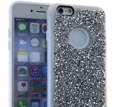 For iPhone 6+ / 6S+ Plus -SILVER Hybrid Armor Bling Case Diamond Rhinestone Stud
