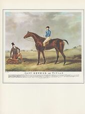 """1974 Vintage HORSE RACE """"CAPTAIN BECHER ON VIVIAN"""" COLOR Art Print Lithograph"""