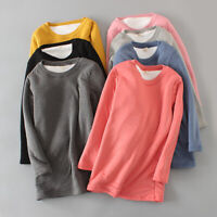 Lady Fleece Lined Shirts Sherpa Tops Pullovers Thick Warm Winter T-shirt Casual