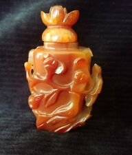 Old Chinese Carnelian Agate Carved Snuff Bottle Sculpture Deep Rich Colors 2.75