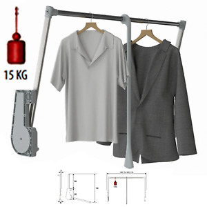 15KG Soft Close Lift / Pull Down Wardrobe Clothes Hanging Rail 750mm-1150mm