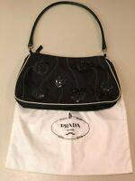 Vintage Authentic Black Prada Semitracolla Tessuto Fiori Purse w/Cert & Dust Bag