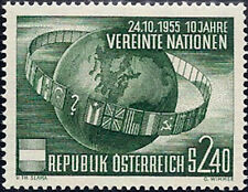 """1955 """"Austria"""" 10 Years United Nations, Flags, Space, Globe, VF/MNH! CAT 25$"""