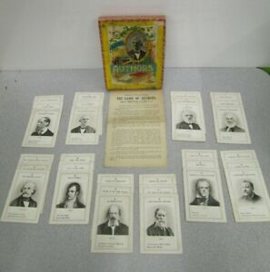 1890's ANTIQUE The Game of Authors Card Game Parker Bros. Salem, Mass No 372