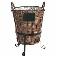 "Display Basket in Stand Black Metal - 16""Dia x 22""H"