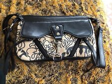 NWT Amy Kathryn black & Tan floral clutch wristlet purse bag vegan fringe