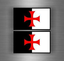2x flag Sticker car biker shield airsoft decal crusader cross templar knights