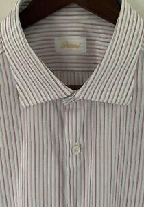 Brioni Men's 17.5/44 Pink White Striped Formal Dress Shirt