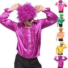 Disfraz de Disco Camisa Pliegue Hombres 70s 80s para Disco Fiesta Baile M L XL