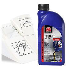 Engine Oil Top Up 1 LITRE Millers Oils TRIDENT Longlife  1L +Gloves,Wipes,Funnel