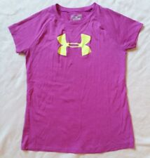 Youth Under Armour T Shirt Size Large Pink Heat Gear Loose Athletic Top