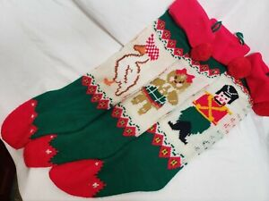 Knitted Christmas Stockings Vintage Set of 3 Goose Gingerbread Man Toy Soldier