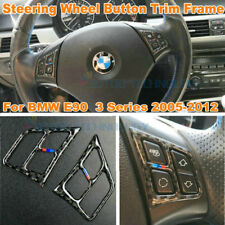 For BMW 3 Series E90 Genuine Carbon Fiber Car Steering Wheel Button Trim Frame