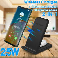 2 In1 25W Qi Wireless Charger Dock Stand For iPhone 8 11 XR XS For SAMSUNG