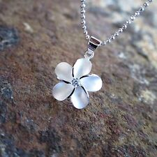 15mm Plumeria Flower Hawaiian Genuine Sterling Silver Pendant Necklace #SP43701
