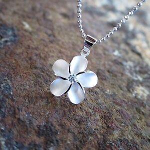 15mm Plumeria Flower Hawaiian Genuine Sterling Silver Pendant Necklace #SP43701