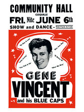 Fifties - Community Hall poster - Gene Vincent and his Blue Caps - (1958)