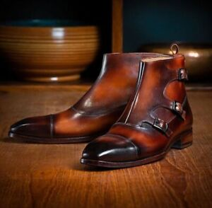 New Handmade Pure Leather Ankle Buckle Boot For Men's