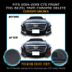 For 2014-2019 Cadillac CTS Fog Trim Cover Chrome Delete Kit - Matte Carbon Fiber