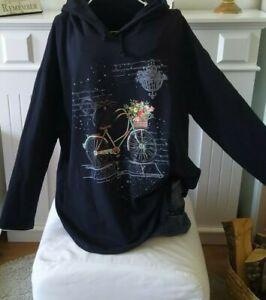 Sweatshirt Longshirt Pullover Hoodie onesize  ca 44, 46,48, L,XL,Katze schwarz