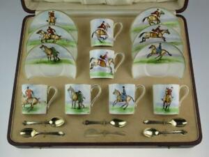 Rare Antique Royal Worcester Porcelain Coffee Service J Hendry 1933