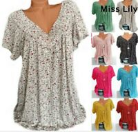 Womens tops Floral Tee Blouse Loose T-shirt V Neck Summer Plus Size