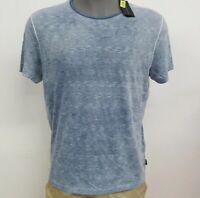 John Varvatos U.S.A. Blue Heather Stripe S/S Men's Crew Shirt NWT $88 Choose Sz