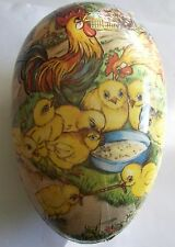 Colorful GERMANY Vintage Paper Mache Easter Egg - Roosters & Chicks