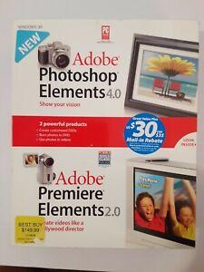 Adobe Photoshop Elements 4.0 & Premier Elements  2.0 W/ User Guides Movies
